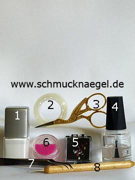 Produkte für das Motiv mit Mikroperlen zum gestalten der Fingernägel - Nagellack, Strasssteine, Mikroperlen, Spot-Swirl