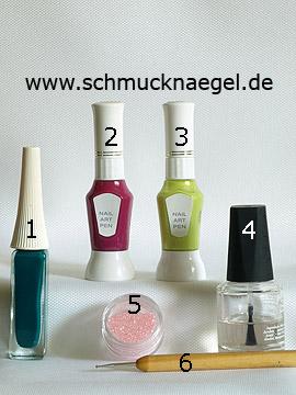 Produkte für das Nailart für den Frühling mit Glitter-Pulver - Nailart Liner, Nailart Pen, Glitter-Pulver, Spot-Swirl