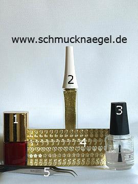 Produkte für das Motiv mit Blumen Tattoos zum dekorieren der Fingernägel - Nagellack, Nailart Liner, Nail-Tattoos