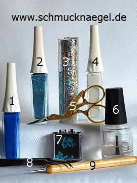 Produkte für das Motiv mit Hologramm-Folie und Pailletten in türkis - Nailart Liner, Hologramm-Folie, Pailletten, Spot-Swirl