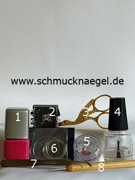 Produkte für das Fingernagel Design mit Nailart Fäden in silber - Nagellack, Strasssteine, Nailart Fäden, Spot-Swirl
