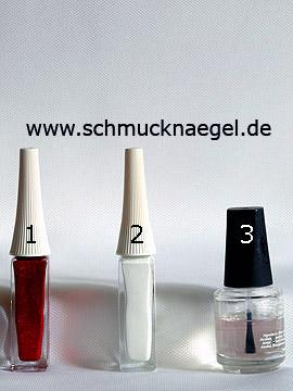 Produkte für das Schmetterling Motiv mit Glitter-Lack in rot - Nailart Liner