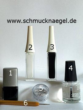 Produkte für das Motiv mit Nagellack und Nailart Liner zum Dekorieren - Nagellack, Nailart Liner, Strasssteine, Spot-Swirl