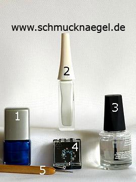 Produkte für das Nailart Ornament Motiv mit Strasssteinen - Nagellack, Nailart Liner, Strasssteine, Spot-Swirl