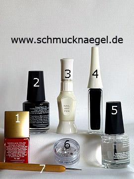 Produkte für das Schmücken der Fingernägel mit Strasssteinen - Nagellack, Nailart Pen, Nailart Liner, Strasssteine, Spot-Swirl