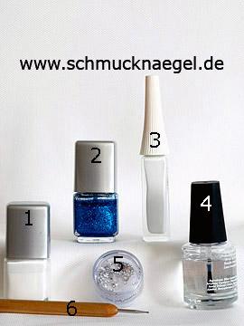 Produkte für das Motiv 'Dekoratives Fingernagel Design mit Nagellacken' - Nagellack, Nailart Liner, Strasssteine, Spot-Swirl