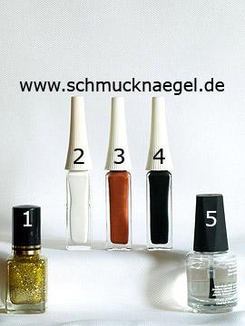 Produkte für das Motiv für den Herbst mit Nagellack in gold-glitter - Nagellack, Nailart Liner