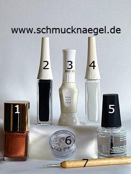 Produkte für das Motiv mit Nagellack in braun mit Glitterpartikel - Nagellack, Nailart Liner, Nailart Pen, Strasssteine, Spot-Swirl