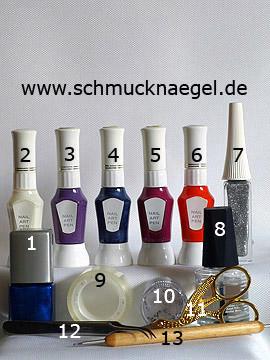 Produkte für das Motiv mit Nailart Pens in verschiedenen Farben - Nagellack, Nailart Pen, Nailart Liner, Strasssteine, Spot-Swirl