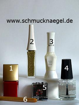 Produkte für das French Motiv mit rotem Nagellack - Nagellack, Nailart Liner, Nailart Pen, Strasssteine, Spot-Swirl