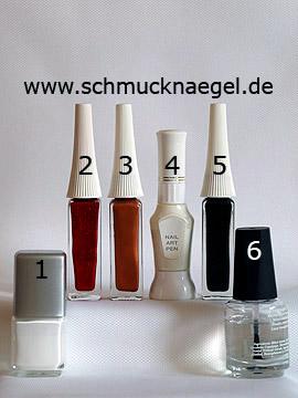 Produkte für das Spekulatius Weihnachts Motiv mit Nagellack - Nagellack, Nailart Liner, Nailart Pen