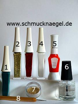 Produkte für das Motiv 'Tannenzweige als Weihnachts Fingernagel Dekoration' - Nailart Liner, Nailart Pen, Nailart Bouillons, Spot-Swirl