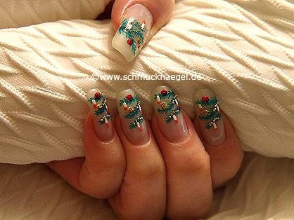 Tannenzweige als Weihnachts Fingernagel Dekoration