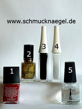 Produkte für die Fingernagel Dekoration in rot und gold-glitter - Nagellack, Nailart Liner