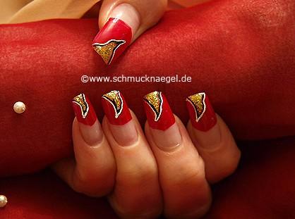 Fingernagel Dekoration in rot und gold-glitter