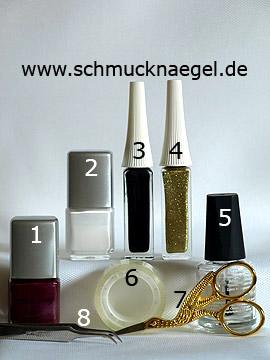 Produkte für das Zebra Motiv mit Nagellack in weiß und aubergine - Nagellack, Nailart Liner