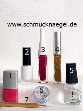Produkte für das French Motiv mit Crackling Nagellack in weiß - Nagellack, Crackling Nagellack, Nailart Liner, Strasssteine, Spot-Swirl