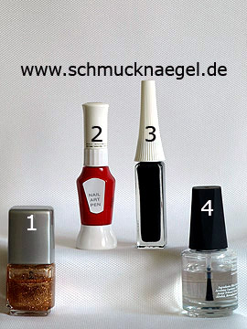 Produkte für das Motiv 'Valentinstag Herz mit Nagellack in kupfer-glitter' - Nagellack, Nailart Pen, Nailart Liner