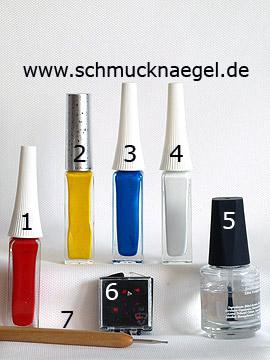 Produkte für das Motiv 'Vier farbiges French Design mit Strassstein' - Nailart Liner, Strasssteine, Spot-Swirl