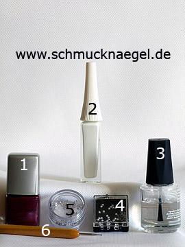 Produkte für das Design 'Halbperlen und Strassstein für ein Nailart Motiv' - Nagellack, Nailart Liner, Halbperlen, Strasssteine, Spot-Swirl