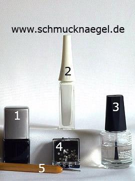 Produkte für das Rauten Fingernagel Motiv mit Strasssteinen - Nagellack, Nailart Liner, Strasssteine, Spot-Swirl