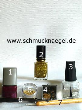 Produkte für das Motiv mit Blattgold und Nailart Bouillons in gold - Nagellack, Blattgold, Nailart Bouillons, Spot-Swirl