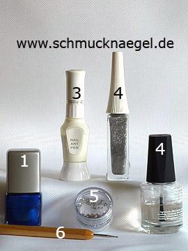 Produkte für das French Design mit Strasssteinen - Nagellack, Nailart Pen, Nailart Liner, Strasssteine, Spot-Swirl