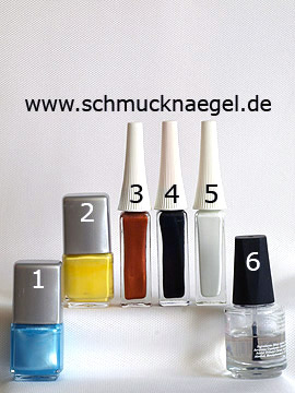 Produkte für das Sommer Motiv mit Nagellacken in verschiedenen Farben - Nagellack, Nailart Liner