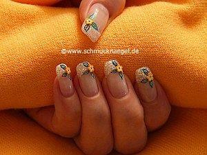 Design mit Glitter-Pulver und Fimo-Blume