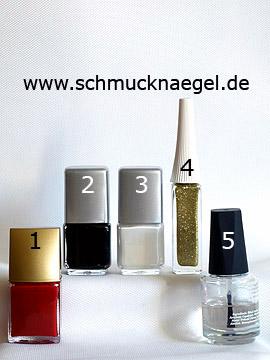 Produkte für das Motiv mit Nailart Liner und Nagellacke in verschiedenen Farben - Nagellack, Nailart Liner