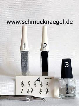 Produkte für das Motiv 'Ornament-Sticker mit Strasssteinen in kristall' - Nailart Liner, Nail Sticker