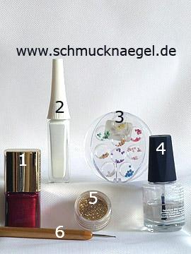 Produkte für das Motiv mit Glitter-Pulver in gold und Halbperlen - Nagellack, Nailart Liner, Glitter-Pulver, Halbperlen, Spot-Swirl