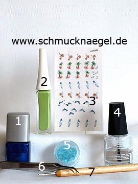 Produkte für das Motiv mit 3D Delfin Nail Sticker und Muschel Splitter - Nagellack, Nailart Liner, 3D Nail Sticker, Muschel Splitter, Spot-Swirl