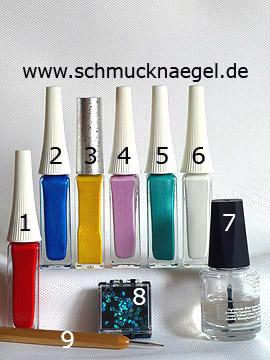 Produkte für das Retro Motiv mit Nailart Linern und Pailletten - Nailart Liner, Pailletten, Spot-Swirl
