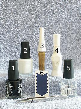 Produkte für das Motiv mit Maniküre Schablonen - Nagellack, French Maniküre Schablonen, Nailart Liner, Nailart Pen, Klarlack