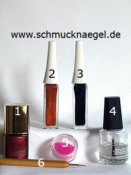 Produkte für das Motiv mit Herbstfarben und Mikroperlen für die Nägel - Nagellack, Nailart Liner, Mikroperlen, Spot-Swirl
