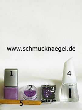 Produkte für das Fingernagel Motiv mit Kaviar-Effekt - Nagellack, Mikroperlen, Strasssteine, Spot-Swirl