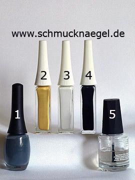 Produkte für das Adler Motiv mit Nagellack und Nailart Liner - Nagellack, Nailart Liner