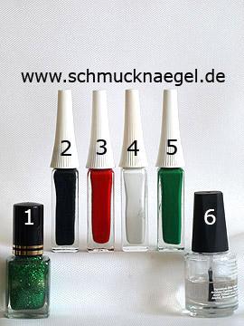 Produkte für das Herbstäpfel Motiv mit Glitter Nagellack - Nagellack, Nailart Liner