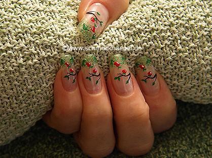 Herbstäpfel Motiv mit Glitter Nagellack