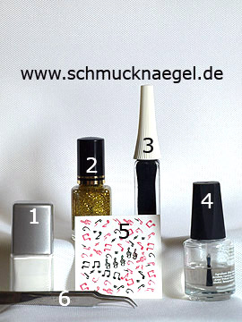 Produkte für das Fingernagel Design mit Musiknoten - Nagellack, Nailart Liner, Nail Sticker