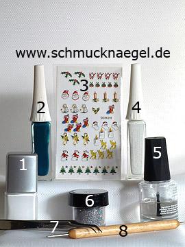 Produkte für das Weihnachtsmotiv mit Reh Sticker - Nagellack, Nailart Liner, Glitter-Pulver, Nail Sticker, Spot-Swirl