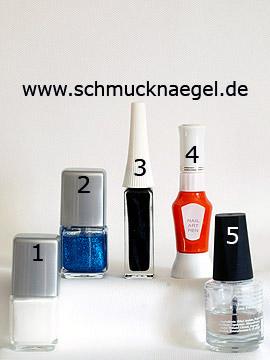 Produkte für das Design 'Pinguin als Wintermotiv für die Fingernägel' - Nagellack, Nailart Liner, Nailart Pen