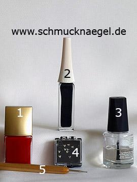 Produkte für das Fingernagel Motiv mit dreieckigen Strasssteinen - Nagellack, Nailart Liner, Strasssteine, Spot-Swirl