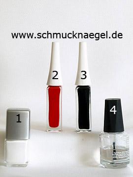 Produkte für das French Design mit Nailart Liner und Nagellack - Nagellack, Nailart Liner