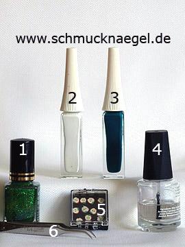 Produkte für das Nailart Fimo Motiv mit Glitter-Nagellack - Nagellack, Nailart Liner, Fimo-Früchte