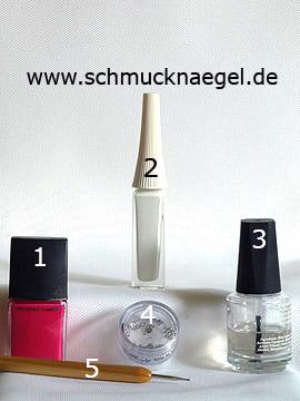 Produkte für das Nailart Design für die Fingernägel - Nagellack, Nailart Liner, Strasssteine, Spot-Swirl