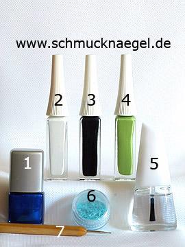 Produkte für das Design 'Der Schwan - French Motiv mit Muschelsplittern' - Nagellack, Nailart Liner, Muschel Splitter, Spot-Swirl