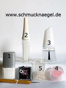Produkte für das Hochzeit Motiv mit Halbperlen und Strasssteinen - Nagellack, Nailart Liner, Glitter-Pulver, Halbperlen, Strasssteine, Spot-Swirl