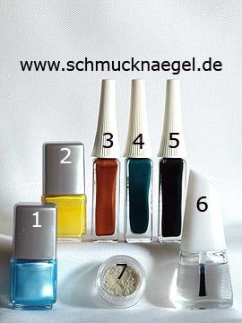 Produkte für das Palmenstrand Motiv mit Sand und Nagellack - Nagellack, Nailart Liner, Sand